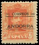 Lot n° 4700 - ** - ANDORRE ESPAGNOL 9B : 50c. orange, dentelé 13 x 12 1/2, N°A000.000, TB